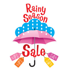 Rainy season sale banner decorate with umbrella vector