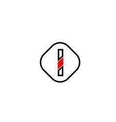 red line i black letter icon alphabet logo shape vector image