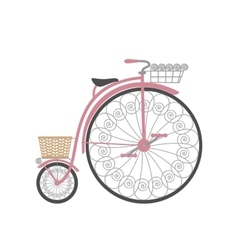 Retro bicycle in flat style vector