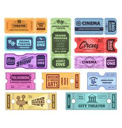 Retro tickets circus cinema and theatre admit vector