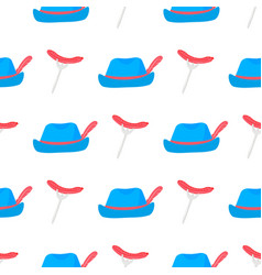 Sausage grill on a fork vintage hat with feather vector