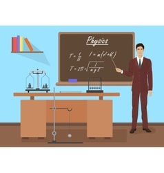 School Physics male teacher in audience class vector image
