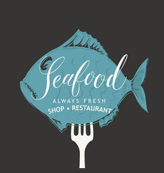 Seafood menu with fish on fork vector