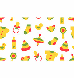 seamless pattern with baby things vector image