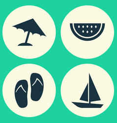 Season icons set collection of melon forceps vector