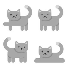 set cute cat icons isolated on white vector image