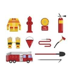set firefighter fire safety icons vector image