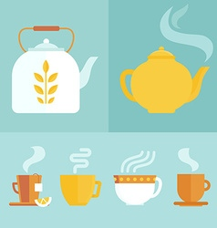 set icons and in flat style vector image