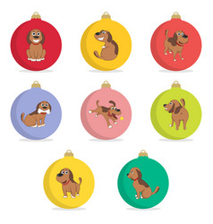 set of christmas ball funny cartoon puppy in vector image
