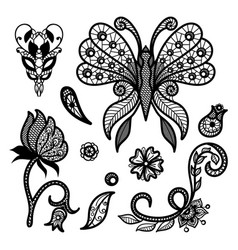 set of decorative elements lace patterns vector image vector image