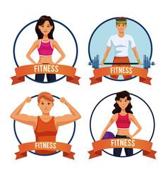 set of fitness people emblem vector image
