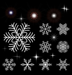 Set of snowflakes and luminous outbreaks vector