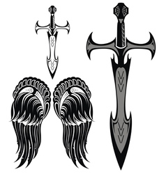 Set of swords and wings vector image
