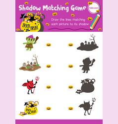 Shadow matching game halloween 3 vector