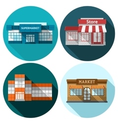 Shop Flat Set vector