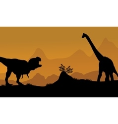 Silhouette of brachiosaurus and t-rex vector