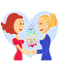 Smiling and happy lesbian couple of women vector