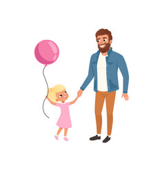 smiling father and his little daughter with pink vector image