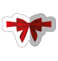 Sticker satin red ribbon and bow wrapping vector