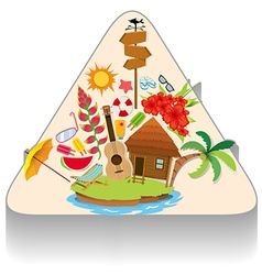 summer theme with island and objects vector image