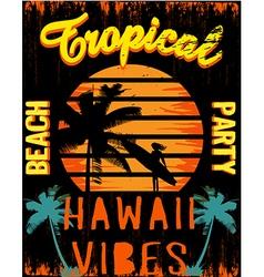 Sunset at tropical beach hawaii vector image