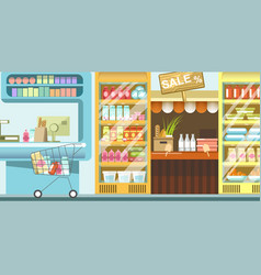 Supermarket with full rows of food and cart vector