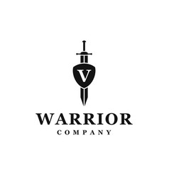 sword shield logo design vector image