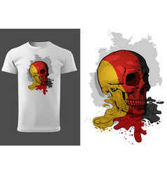 t-shirt design skull painted with german flag vector image