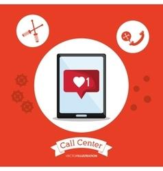 Tablet call center design vector