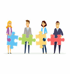 teamwork in a company - modern cartoon people vector image