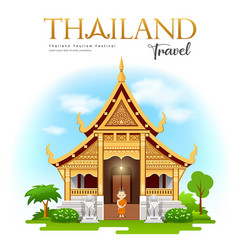 thailand travel wat phra singh chiang mai design vector image