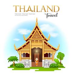 Thailand travel wat phra singh chiang mai design vector