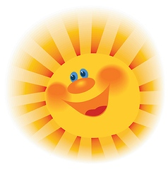 The stylized image of a smiling sun vector