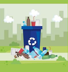 Toxic plastics pollution to city contamination vector