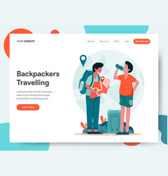 travelling backpackers concept vector image