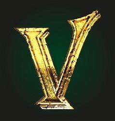 V golden letter vector