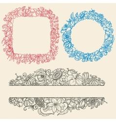 Vintage flower frames vector image