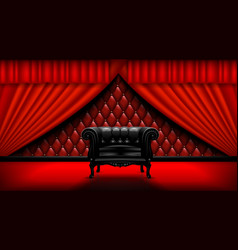 vintage leather chair on a background red vector image