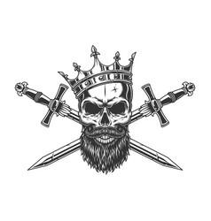 Vintage monochrome king skull in crown vector