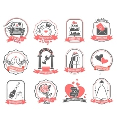 Wedding marriage engagement emblems outline set vector