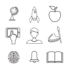 White background with silhouette icons academic vector