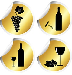 Wine icons on golden round stickers with curved vector image vector image
