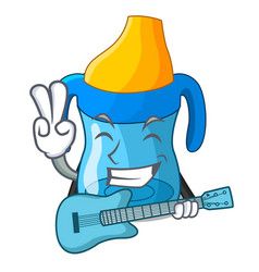 With guitar cartoon baby drinking from training vector