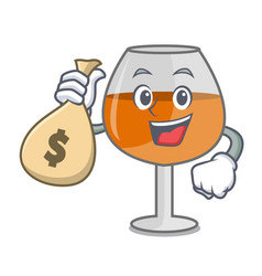 With money bag cognac ballon glass character vector