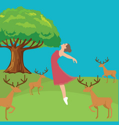Woman girl fresh jumping freedom in forest fresh vector