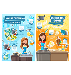 women cooking washing dishes household service vector image