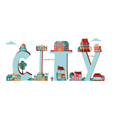 word city with city old town cartoon buildings vector image