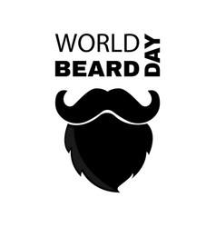 World beard day greeting card with beard vector
