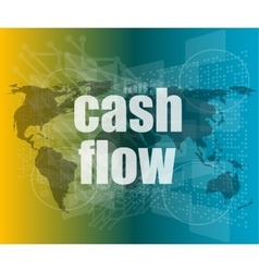 business words cash flow on digital screen showing vector image