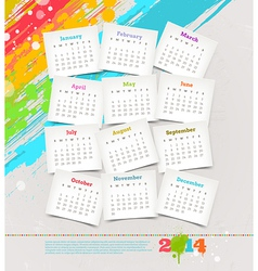 Cardboards with calendar of 2014 year vector image vector image